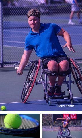 mosaique de 3 images des joueurs de tennis en fauteuil roulant
