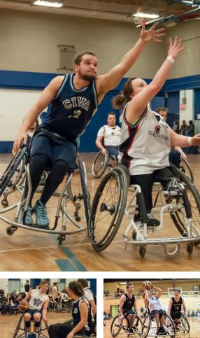 moisaique de 3 images de joueurs de basketball en fauteuil roulant