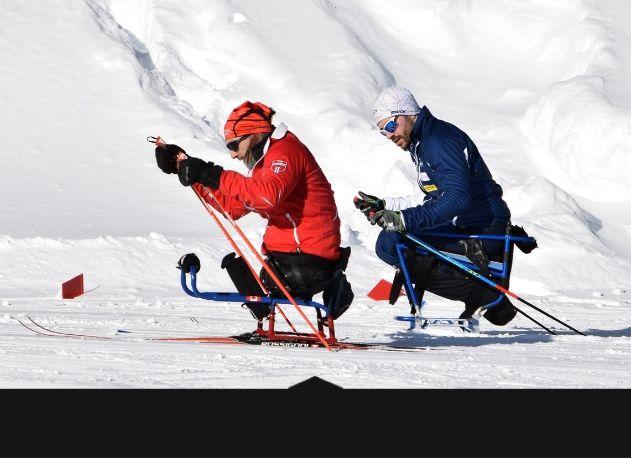 2 skieurs de paraski de fond