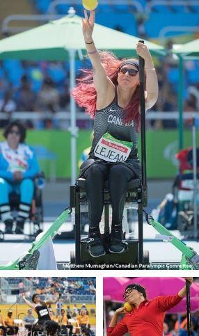mosaique de athlete de para athlétisme en lancer en fauteuil roulant