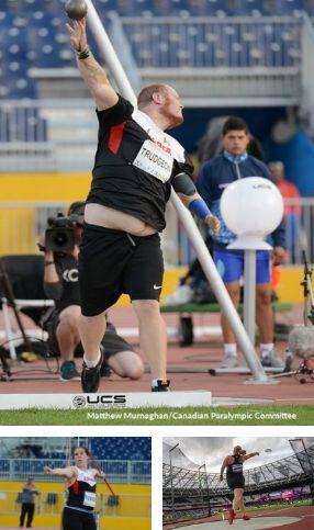mosaique de 3 images d'athlète de lancer en paraathlétisme