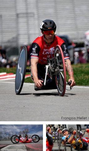 mosaique de 3 images d'athlètes de paracyclisme